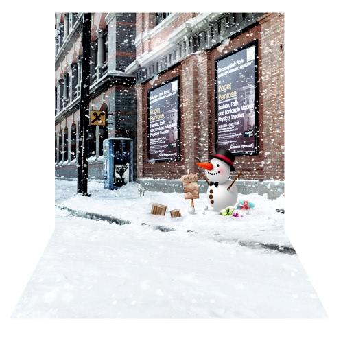 子供キッズベビーフォトスタジオポートレート撮影のためAndoer 1.5 * 2メートルの写真の背景の背景雪ストリート雪だるまパターン