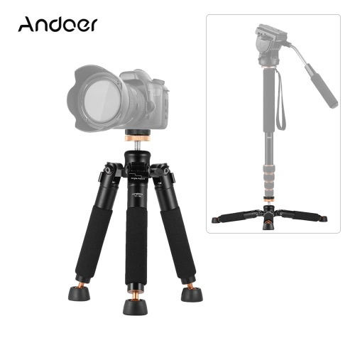 Andoer TP-166ポータブル卓上デスクトップマクロミニアルミ合金三脚一脚一脚はキヤノン、ニコン、ソニーシグマカメラのサポートホルダースタビライザーをスタンド