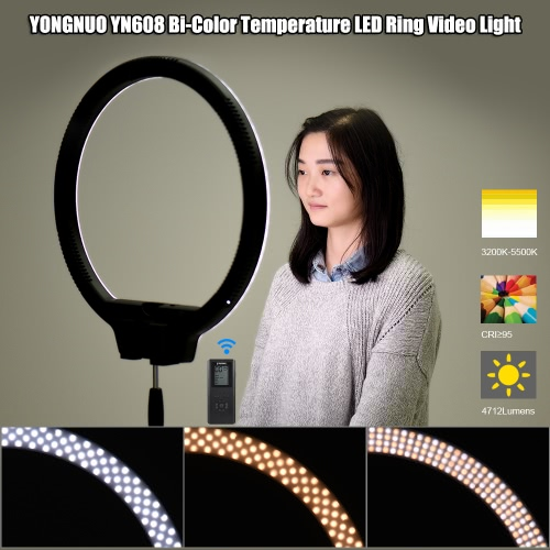 YONGNUO YN608 3200K~5500K Bi-Color Temperature Wireless Remote LED Ring Video Light Annular and Frameless Appearance Design Adjustable Brightness CRI≥95 with Handle Grip Remote Controller for Portrait Live Video Selfie, TOMTOP  - buy with discount