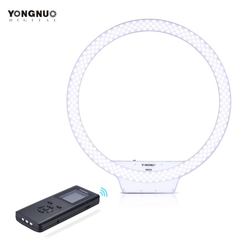 YONGNUO YN308 3200K~5500K Bi-Color Temperature Wireless Remote LED Ring Video Light Annular and Frameless Appearance Design Adjustable Brightness CRI≥95 with Handle Grip Remote Controller for Portrait Live Video Selfie