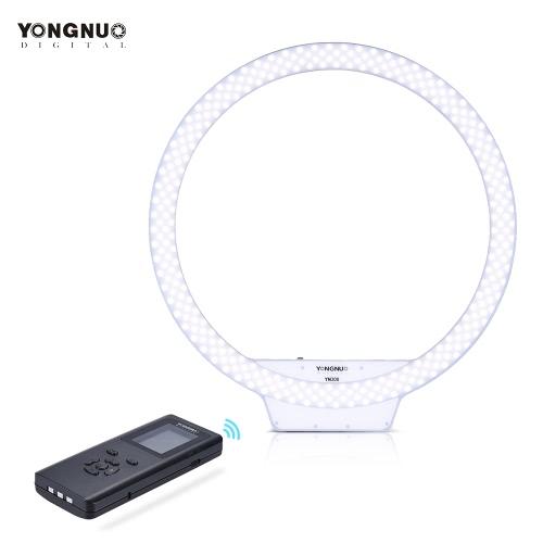 YONGNUO YN308 3200K ~ 5500K Bi-color LED inalámbrico de temperatura remoto de vídeo de llamada Luz anular y sin marco diseño de la apariencia CRI≥95 Brillo ajustable con mango de agarre Mando a distancia para el retrato de vídeo en directo selfie