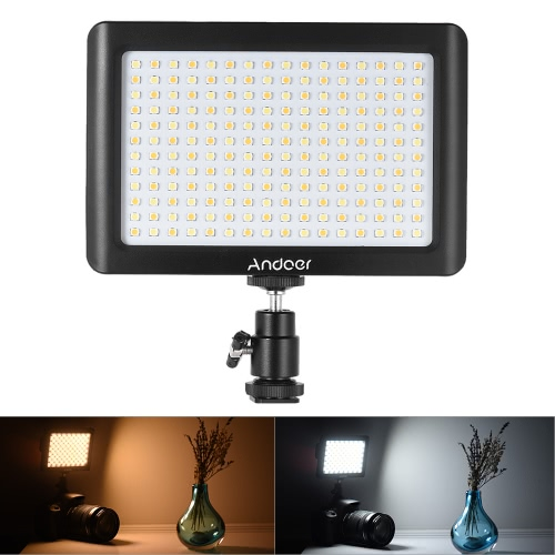 Andoer Mini Portable Dimmable Studio Video Photography LED Light Panel Lamp 3200K/6000K 192pcs Beads for Canon Nikon DSLR Camera DV Camcorder