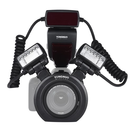 YONGNUO YN24EX E-TTL Macro Flash Speedlite 5600K avec 2pcs Flash Heads et 4pcs Adaptateurs pour Canon EOS 1Dx 5D3 6D 7D 70D 80D Cameras