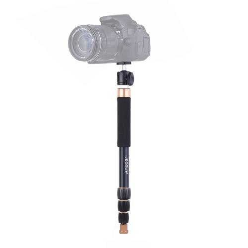Andoer Q148Bポータブル写真アルミ合金カメラモノポードと同様にセルフスティック4セクション伸縮式ツイストロックシステム32cm-95cm DSLRカメラの調節可能な高さILDC最大荷重容量4kg