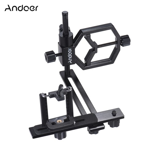 Andoer Universal Metal Telescope Phone Digital Camera Mount Adapter Bracket Smartphone Holder Clip for Monocular Spotting Scope Microscope Telephoto Lens for iPhone 7Plus/ 7/ 6s/ 6Plus