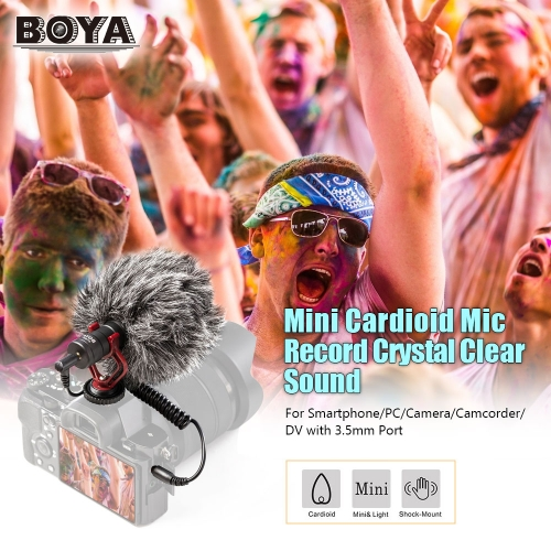 BOYA BY-MM1 Mini Cardioid Microphone Metal Electret Condensor Video Mic TOMTOP