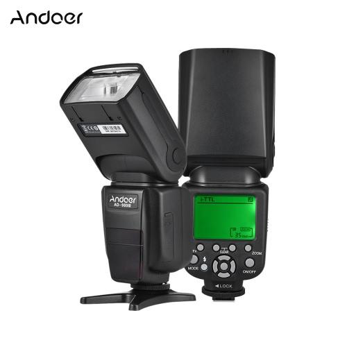 Andoer AD-980IIIN Flash esclavo maestro i-TTL Speedlite 1 / 8000s HSS Sistema de flash inalámbrico 2.4G incorporado 2.9s Tiempo de reciclado Manual y zoom automático GN58 para cámaras de la serie Nikon