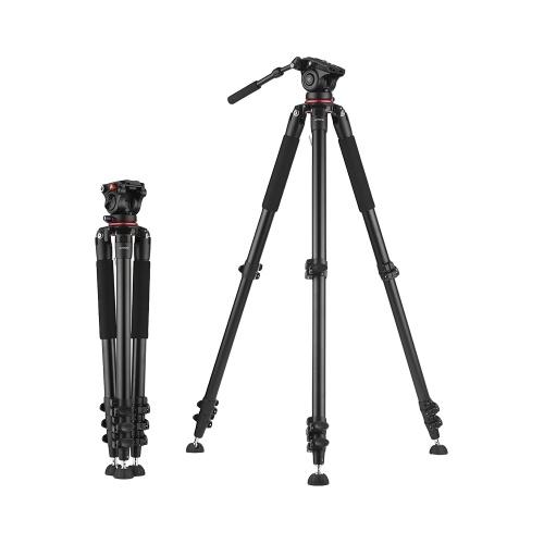 Andoer 5.6ft trépied vidéo professionnel résistant de caméscope avec la tête de décharge rapide de plat de décharge de fluide 15kg de charge utile avec le sac de transport