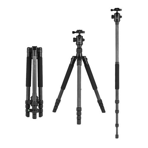 Andoer 64inch Leichte Reise Carbon Fibre Stativ Einbeinstativ mit Kugelkopf Tragetasche für Digital DSLR Videokamera Camcorder