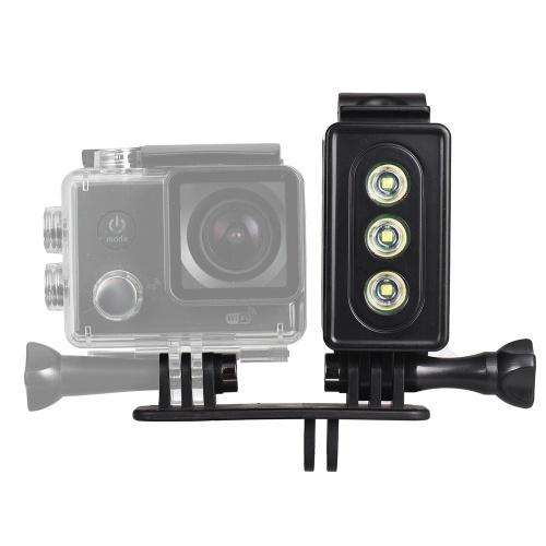 Action Camera LED Diving Light Lampada subacquea 300LM 3 Modalità di illuminazione 30m Impermeabile con batteria ricaricabile per GoPro Hero 7/6 / 5s / 5 / 4s / 4/3 + / 3 per SJCAM Xiaomi Yi Fotocamere sportive