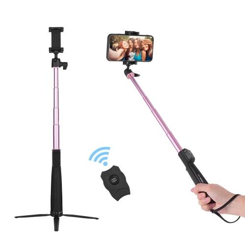 MEFOTO Portable Treppiede regolabile Supporto per monopiede monopiede Allungabile Selfie Stick BT Connessione con telecomando a sfera senza fili Ballhead per iPhone X / XS / 8Plus / 8 Huawei Samsung Xiaomi