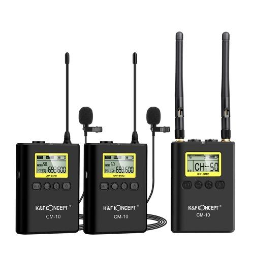 K & F CONCEPT Professionelle drahtlose Videoaufzeichnung Lavalier-Mikrofon für Ansteckmikrofone (2 Sender + 1 Empfänger) UHF-Zweikanal-Omnidirektionales Mikrofon für Canon Nikon Sony DSLR-Kamera