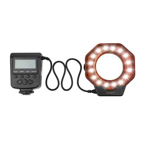 SHOOT XT-356 LED Anel Macro Flash Light Speedlite Luz de preenchimento