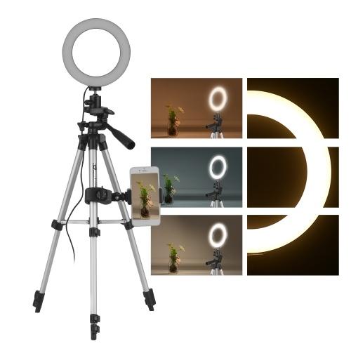 6 Polegada Mini LED Anel de Luz da Lâmpada 3 Modos de Iluminação de 10 Níveis de Brilho Ajustável USB Alimentado com Tripé Suporte Do Telefone para o YouTube Ao Vivo Gravação De Vídeo Em Rede de Transmissão Selfie Maquiagem