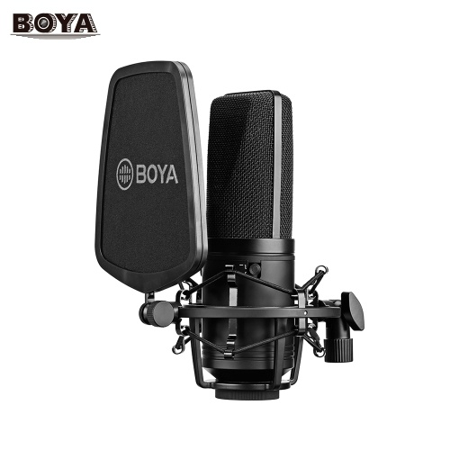 BOYA BY-M1000 Professional Large Diaphragm Condenser Microphone Podcast Mic Kit Support Cardioid/Omnidirectional/Bidirectional with Double-layer Pop Filter Shock Mount XLR Cable for Singer Vocals Podcaster Home Studio Voice Over Recording