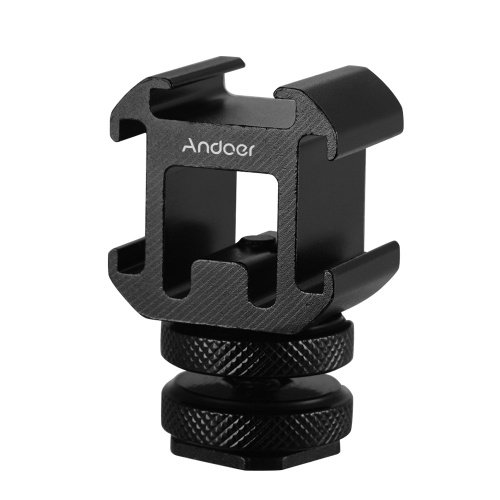 Andoer 3 Cold Shoe Mount Adapter On-Camera Mount Adapter for Canon Nikon Sony DSLR Camera for LED Video Light Microphone Monitor