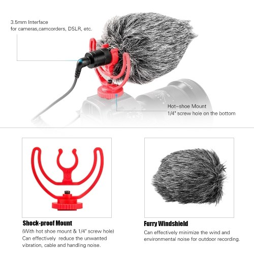 Andoer Mini Universal Cardioid On-Camera Microphone Mic with Hot Shoe Shock Mount 3.5mm TRS TRRS Connector Fur Windsheild for iPhone 6/ 6 Plus Huawei Xiaomi Samsung Tablet PC Canon Sony Nikon Camera Camcorder DV DSLR for Studio Interview Recording