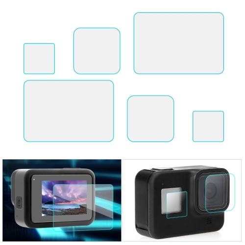 6pcs Ultra-clear Screen Protector Tempered Glass Screen Film Compatible with GoPro Hero 8 Camera