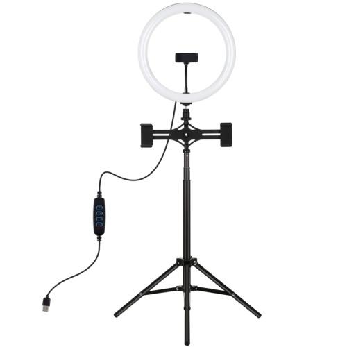 PULUZ 11,8-дюймовый светодиодный свет с регулируемой яркостью освещения с подставкой для штатива и держателем для телефона