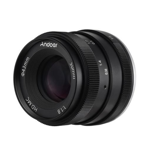 Lente de cámara digital Andoer 50mm F1.8 Gran apertura Marco APS-C Recubrimiento de película multicapa Lente de cámara sin espejo