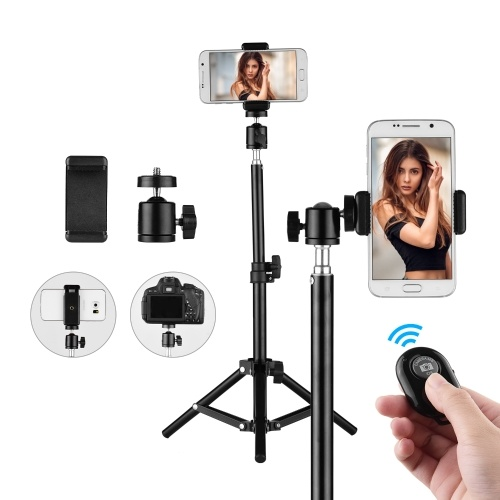 Studio Photography Light Tripod Stand  Adjustable Aluminum Alloy for Supporting Flash Lights Softbox with Ball Head Cellphone Clamp Remote Control Max Height 50CM/1.6Feet