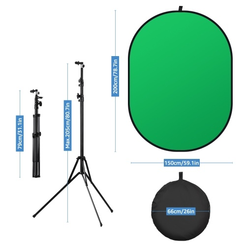 Andoer 5 * 6.5ft/ 1.5 * 2m Green & Blue 2-in-1 Studio Collapsible Background Panel Double-sided Photography Backdrop Cotton Material with Metal Stand Carry Bag for Video & Photo