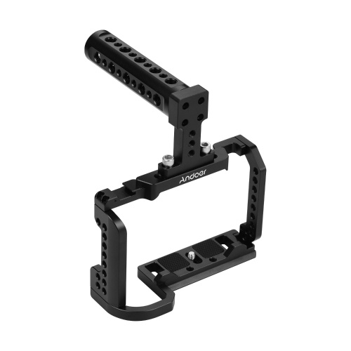 Andoer Video Camera Cage + Top Handle Kit Alloy Aluminium with Cold Shoe Mount 1/4 Inch Screw Holes Compatible with Nikon Z6 / Z7