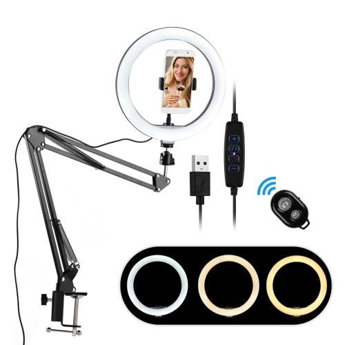 10-Zoll-Mini-LED-Ringlichtfotografie Fülllicht 3 Beleuchtungsmodi Dimmbar USB-betrieben