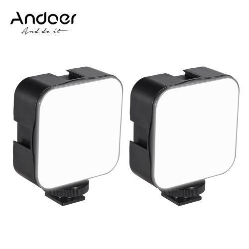 Andoer Mini LED Video Light Photography Fill-in Lamp 6500K Dimmable 5W with Cold Shoe Mount Adapter Compatible with Canon Nikon Sony DSLR Camera, Pack of 2pcs
