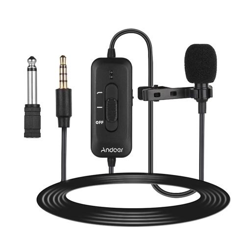 Andoer AD-M2 Micrófono de solapa con clip omnidireccional Micrófono de condensador de enchufe de 3,5 mm