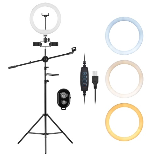 10inch/26cm Video Ring Light Kit 3 Color 10-level Dimmable 3200-5600K