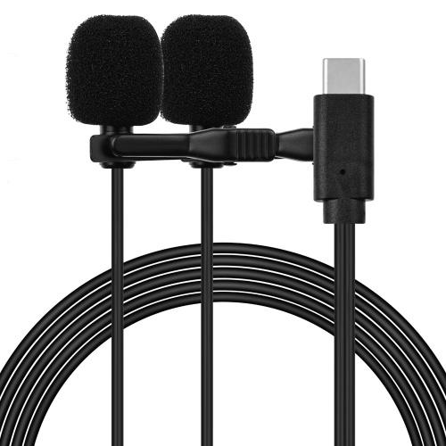 Петличный петличный микрофон с зажимом всенаправленный микрофон с двумя головками, кабель 2,5 м / 8,2 фута