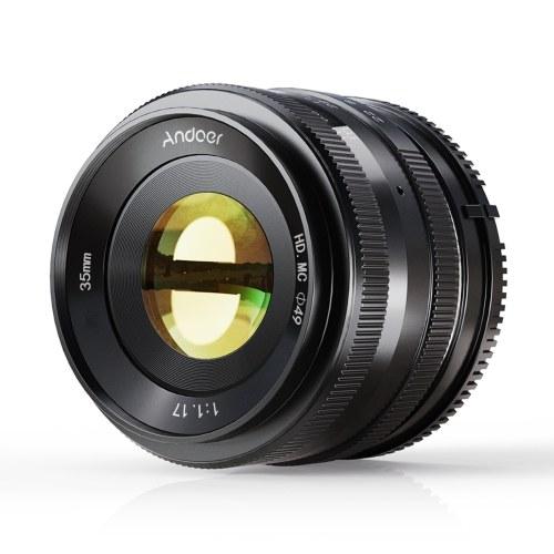 Lente de cámara de enfoque manual Andoer 35 mm F1.7 APS-C