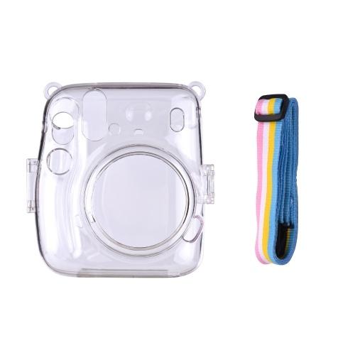 Étui de protection transparent pour appareil photo instantané avec remplacement de lanière arc-en-ciel pour Fujifilm Instax Mini 11