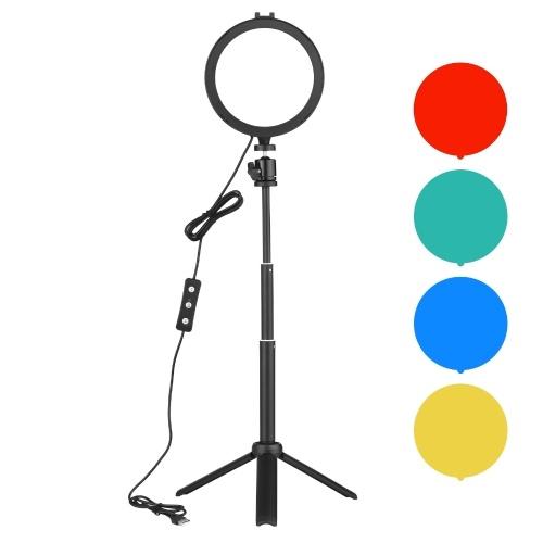 Andoer PH-03 6-дюймовый светодиодный светильник круглой формы, включающий 1 * 5600K USB светодиодный светильник с креплением для холодного башмака + 1 * настольный штатив + 1 * гибкую металлическую головку + 4 * цветных фильтра (красный / желтый / синий / зеленый) для Прямая трансляция Онлайн-обучение Видеоконференция Освещение Фотографии продукции