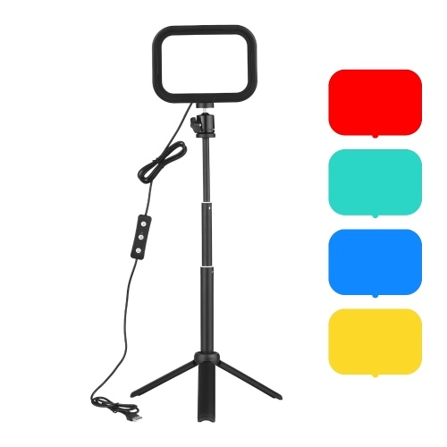 Andoer PH-04 Kompaktes LED-Videobeleuchtungs-Kit, einschließlich 1 * 5600K USB LED-Fülllicht + 1 * Desktop-Stativ + 1 * Flexibler Metallkugelkopf + 4 * Farbfilter (Rot/Gelb/Blau/Grün) für Live-Streaming Online-Unterricht Videokonferenzbeleuchtung Produktfotografie