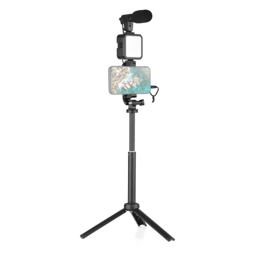 Vlog Shooting Kit Mini-LED-Videoleuchte + Supernieren-Kondensatormikrofon + Drehbarer Telefonclip + Stativ + Fernauslöser