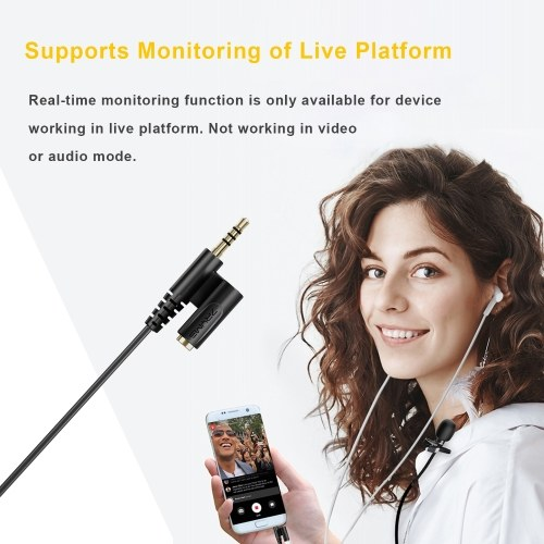 7RYMS S.LAV 01 Multi-functional Lavalier Microphone Omnidirectional Clip-on Lapel Mic 3.5mm TRRS Plug with Monitoring Headphone Jack for DSLR Camera Smartphone Vlogging Video Recording Interview Live Streaming, Cable Length 2.5M