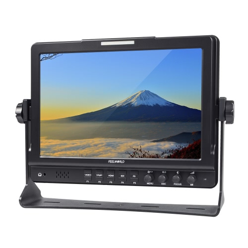 FEELWORLD FW1018S 10.1inch HD 1280 * 800 Video Monitor IPS LCD Screen HDMI 3G-SDI YPbPr 178° View Angle with U Shaped Bracket for DSLR Camera Camcorder
