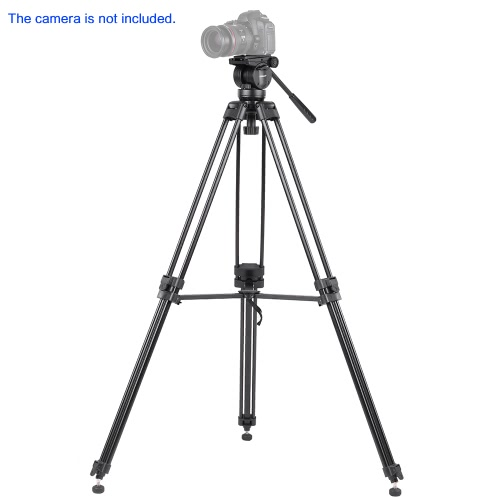 KINGJOY VT-2500 Professional Mg-Al Alloy Video Photo Tripod Kit 360°Panorama Pan Fluid Ball Head for DSLR Camera Video Recorder DV Max Height 61 Inch Max Load 12KG