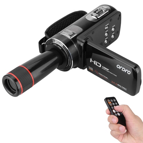 ORDRO HDV-Z8 1080p Full HD Digital Video Camera Camcorder 16 × Digital Zoom Max di rotazione digitale LCD Touch Screen. 24 Mega pixel supporto Face Detection con 12 × teleobiettivo