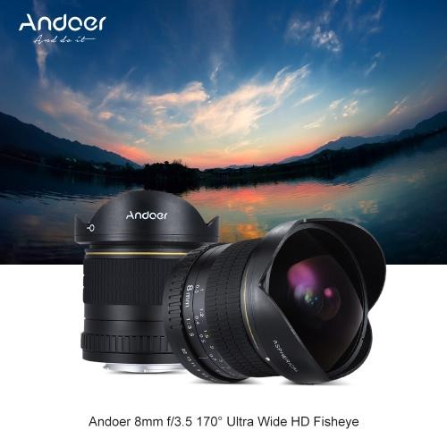 Andoer 8ミリメートルF / 3.5 170°の超ワイドHDフィッシュアイ非球面円形レンズニコンD7100用D7200 D7000 D300 D300S D5500 D810 D800 D800E D810A D600 D610 D700 D5 D4 D4S D3X D750デジタル一眼レフカメラ - 互換性のあるフルフレームカメラ