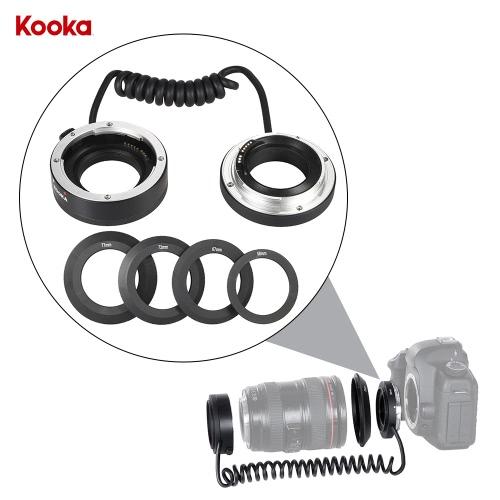KOOKA KK-AT5A AF Auto foco Macro close-up adaptador reverso anel tubo para lente de montagem Canon EF/EF-S com 4 anéis adaptadores (58mm, 67mm, 72mm, 77mm)