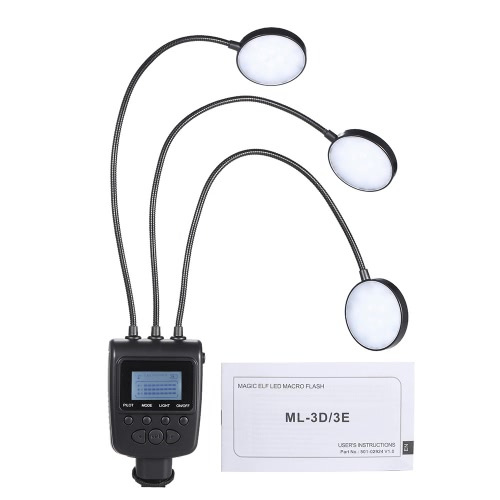 ML-3D Magic LED Macro Flash Light Lamp Speedlite GN31 5500K Metal Hose Arbitrary Angle Adjustment LCD Display Photography Macro Photography for Canon Nikon Panasonic Olympus MI-Sony DSLR Camera Camcorder