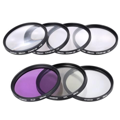 Andoer 58mm UV + CPL + FLD Close-up(+1+2+4+10) lente filtro Kit com bolsa de transporte + tampa da lente + lente tampa titular + tulipa & borracha lente capuzes + pano de limpeza da lente
