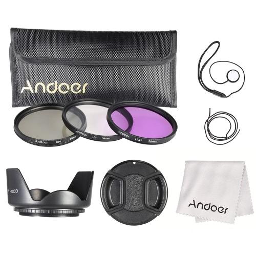 Kit de filtro de 58mm Andoer (UV + CPL + FLD) + Nylon lleva bolsa tapa de la lente titular de tapa lente + parasol + lente paño de limpieza