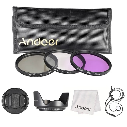 Andoer 58mm Filter Kit (UV + CPL + FLD) + Nylon trasportano copriobiettivo, paraluce + Lens Holder Cap + sacchetto + lente panno di pulizia