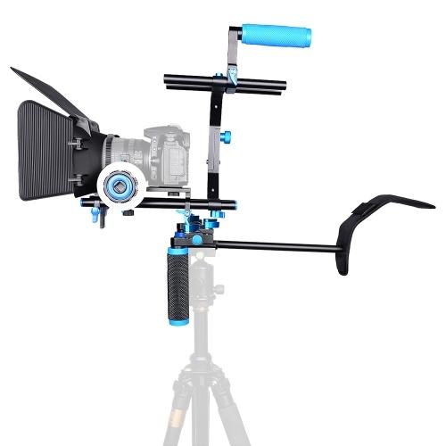 Andoer D102アルミ合金カメラビデオカメラビデオケージキットフィルムキヤノンニコンのデジタル一眼レフ用のケージショルダーパッド15ミリメートルロッドマットボックスフォローフォーカスハンドルグリップでシステムを作ります