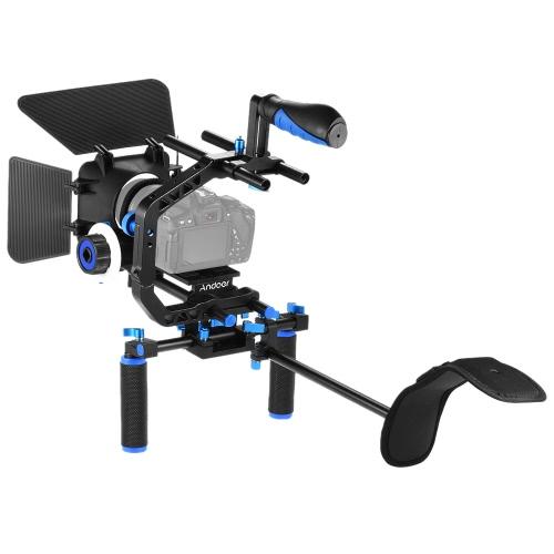 Andoer D102 алюминиевый сплав камеры Видеокамера Кейдж Kit Фотопленки системы с сепаратором подплечником 15мм Rod Matte Box следящей фокусировки Ручка ручка для Canon Nikon DSLR