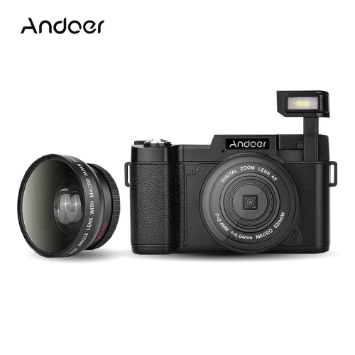 Andoer Digital Camera Vlogging Camcorder Full HD 1080P 24MP Video Camera 3.0 inch Rotatable LCD Screen Anti-Shake 4X Digital Zoom with Wide-Angle Lens UV Filter and Retractable Flashlight